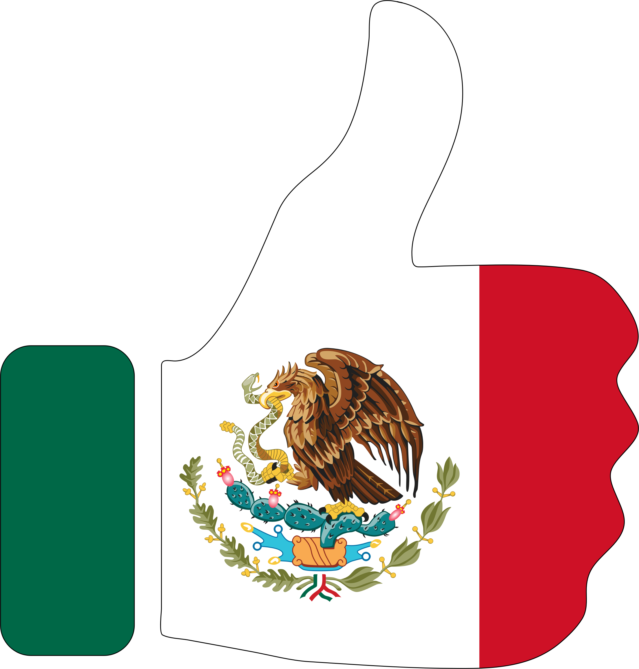 Mexico clipart outline mexico. Thumbs up with stroke