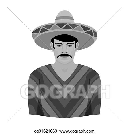 Man in sombrero and. Mexico clipart poncho mexican