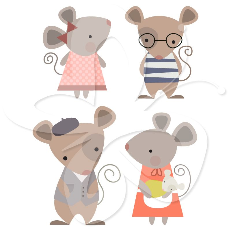 A cute family clip. Clipart mouse illustration