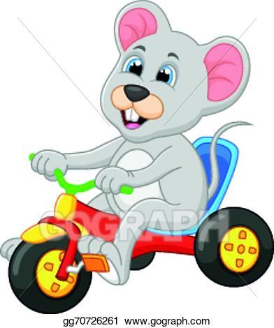 Mice clipart bike. Vector art cute mouse