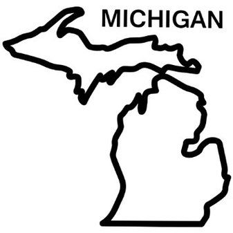 Michigan clipart. Amazoncom state outline decal