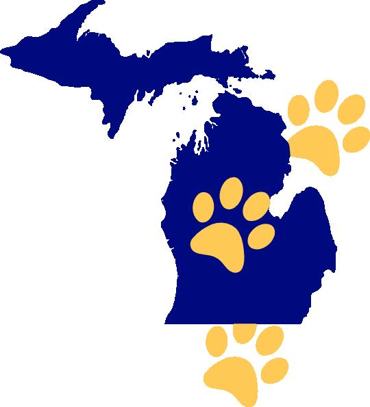 Paw clip art at. Michigan clipart cool