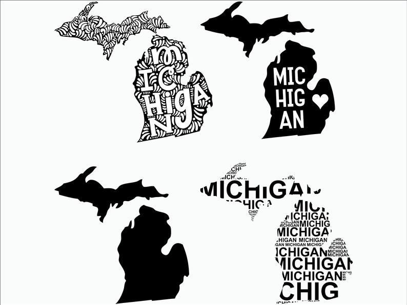 Svg state cricut printable. Michigan clipart decal