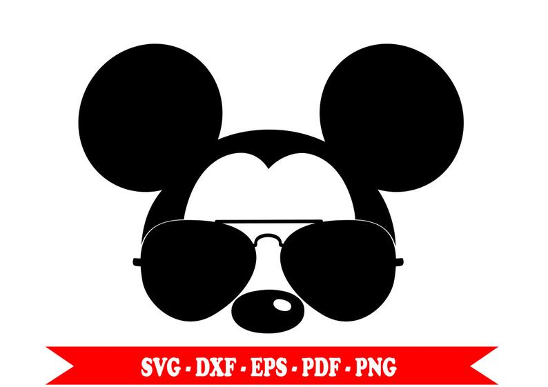 Mouse with aviator svg. Mickey clipart sunglasses