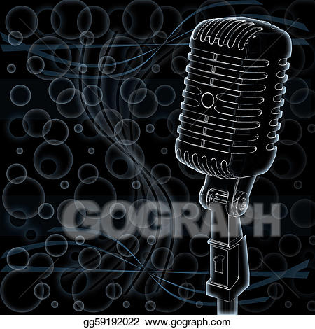 Microphone clipart abstract. Stock illustration on background