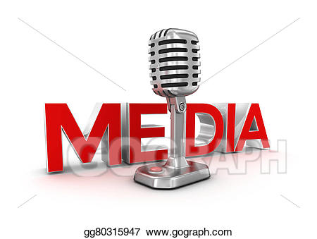 Microphone clipart media. Text and d concept