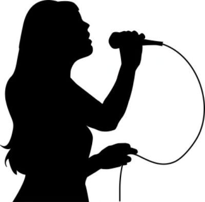 Girl singing into . Singer clipart microphone