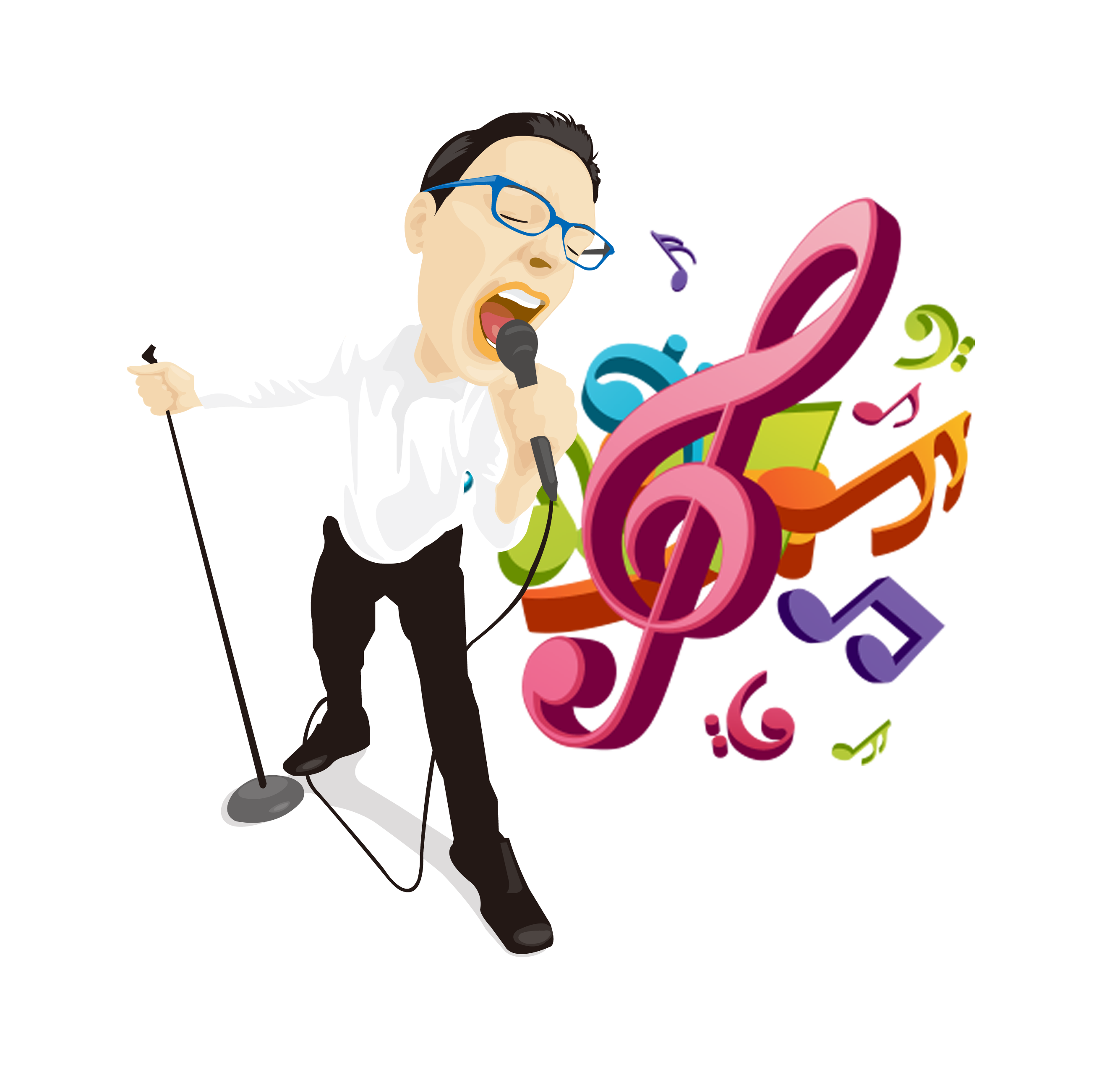 Musical illustration singing man. Microphone clipart music note