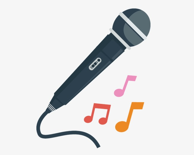 And musical notes cartoon. Microphone clipart music note