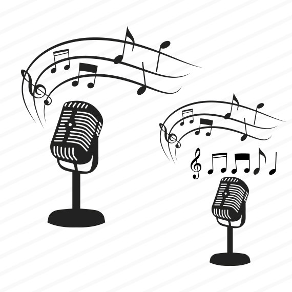 Download silhouette png clip. Microphone clipart music note