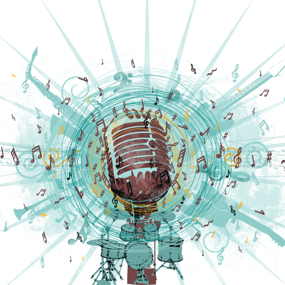 Microphone clipart music note. Background with notes png