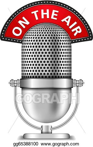 Microphone clipart on air. Vector stock the illustration