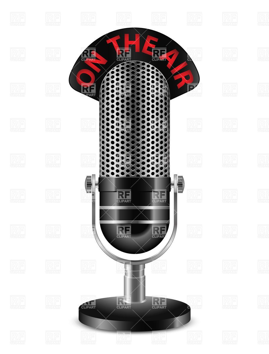 The retro vector image. Microphone clipart on air