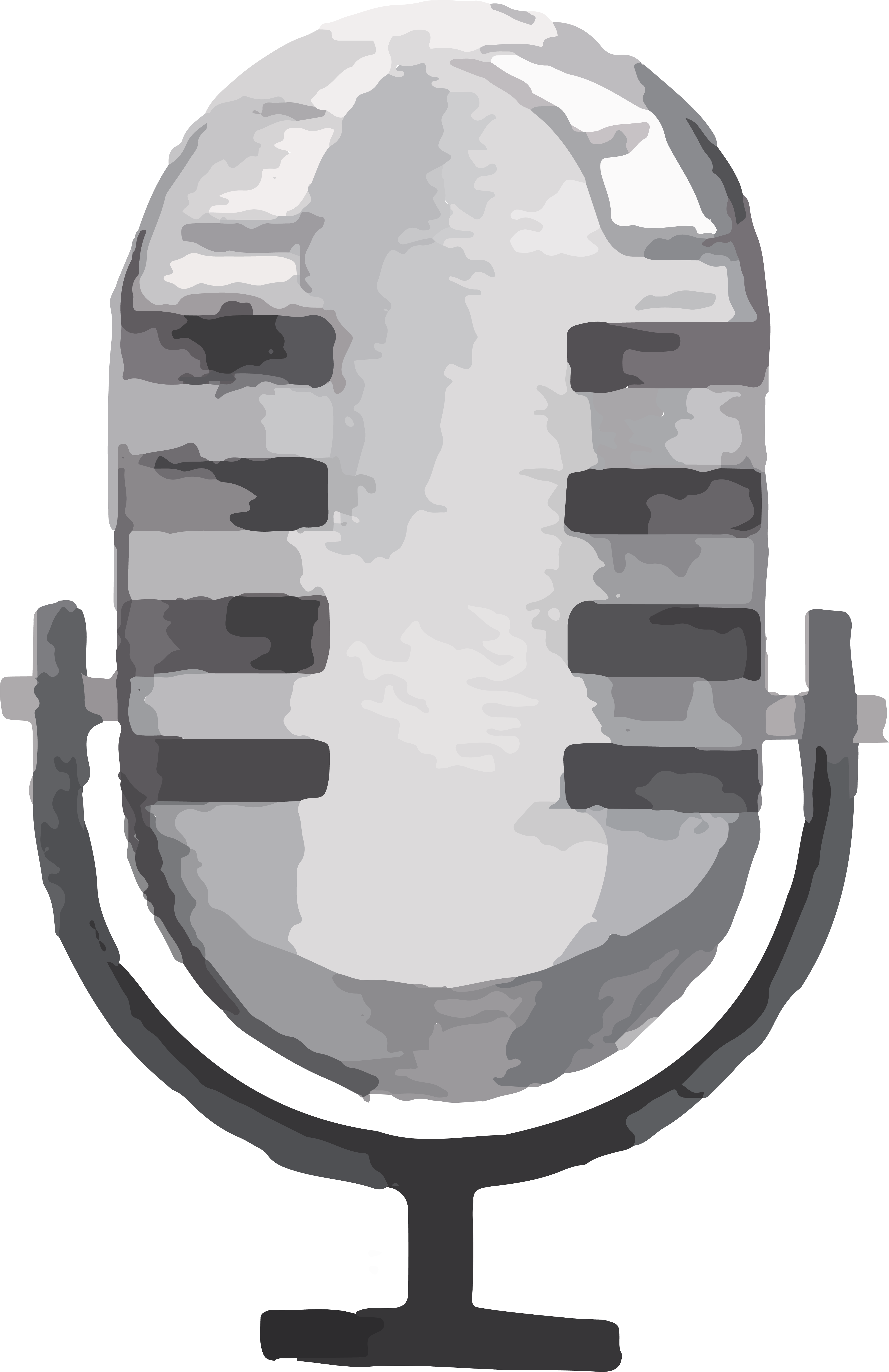 Microphone clipart painting. Watercolor illustration cartoon gray