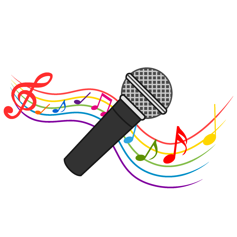 And music note waving. Microphone clipart painting