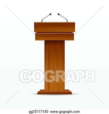 Podium clipart microphone. Eps illustration wood tribune