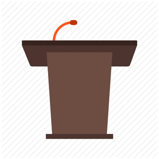 Cartoon font . Podium clipart microphone