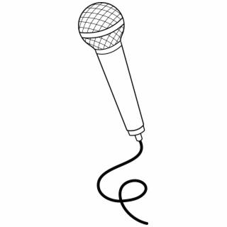 Black and white . Microphone clipart simple