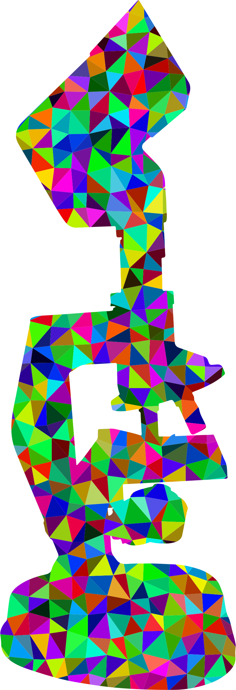 Low poly prismatic silhouette. Microscope clipart colorful