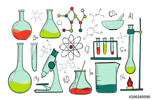Laboratory equipment color set. Microscope clipart science object
