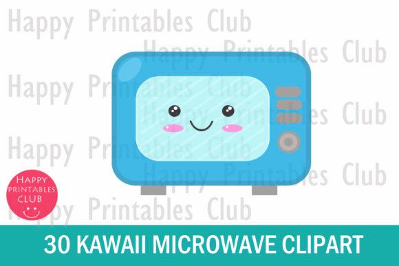 Microwave clipart happy. Cute kawaii