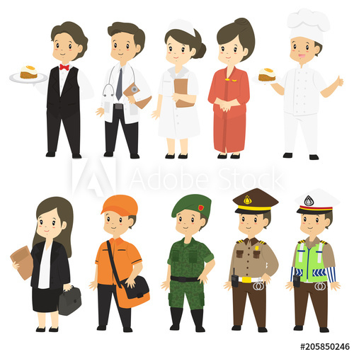 Set of different professions. Military clipart army doctor