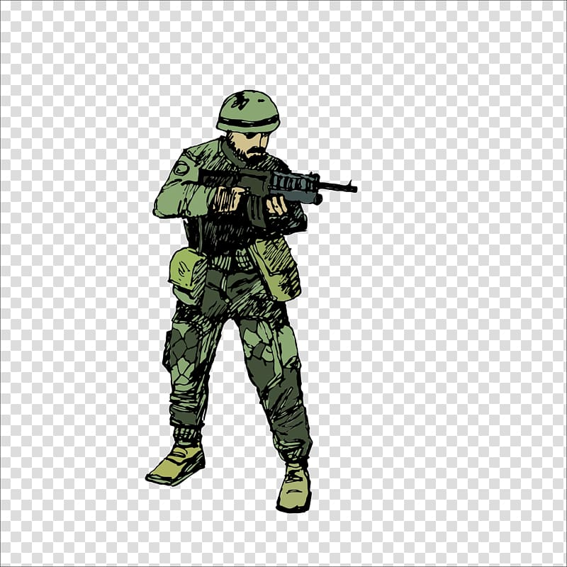 Man holding gun soldier. Military clipart army dude