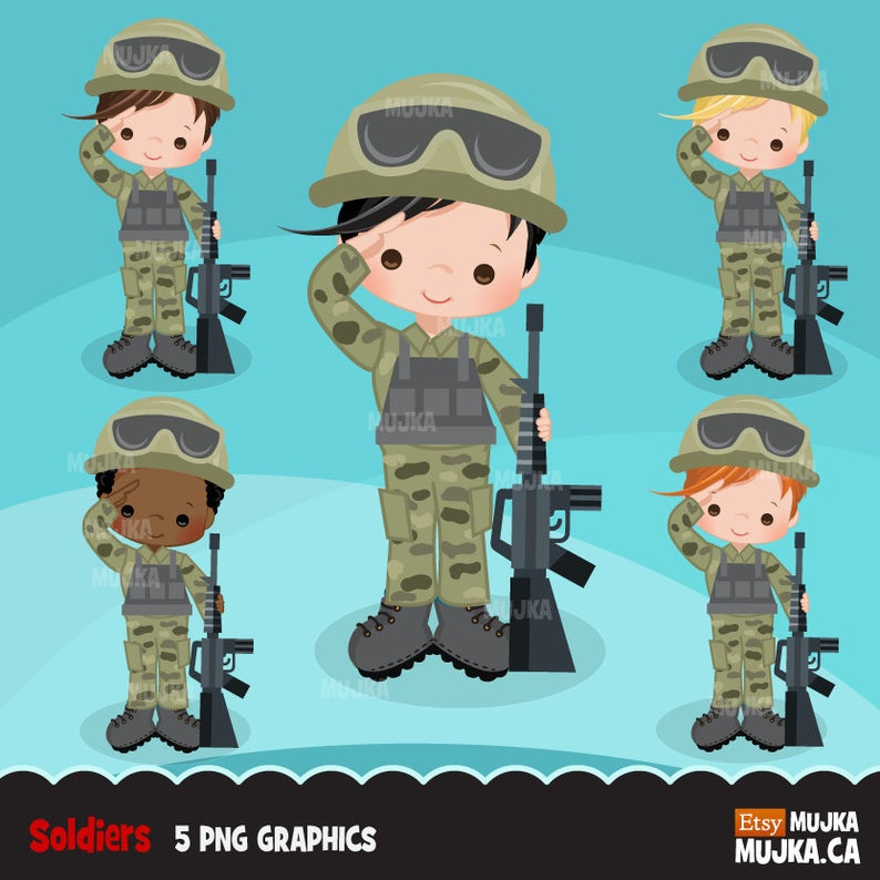 Army little soldier boy. Military clipart cute