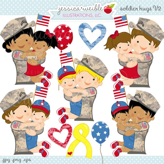 Soldier hugs v cute. Military clipart military child