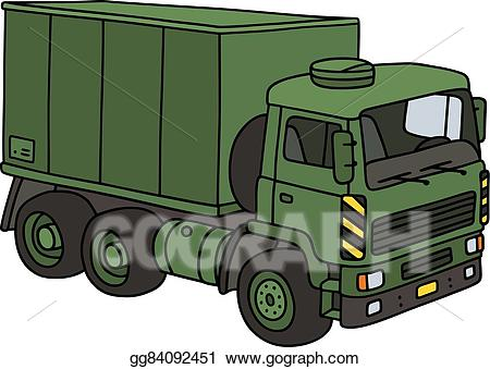 Vector art green drawing. Military clipart military truck