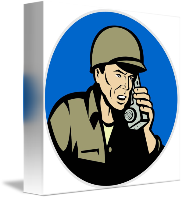Soldiers clipart serviceman. Military soldier talking radio