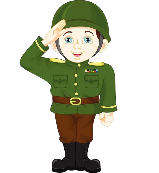 Cartoon military saluting transprent. Soldiers clipart soldier salute