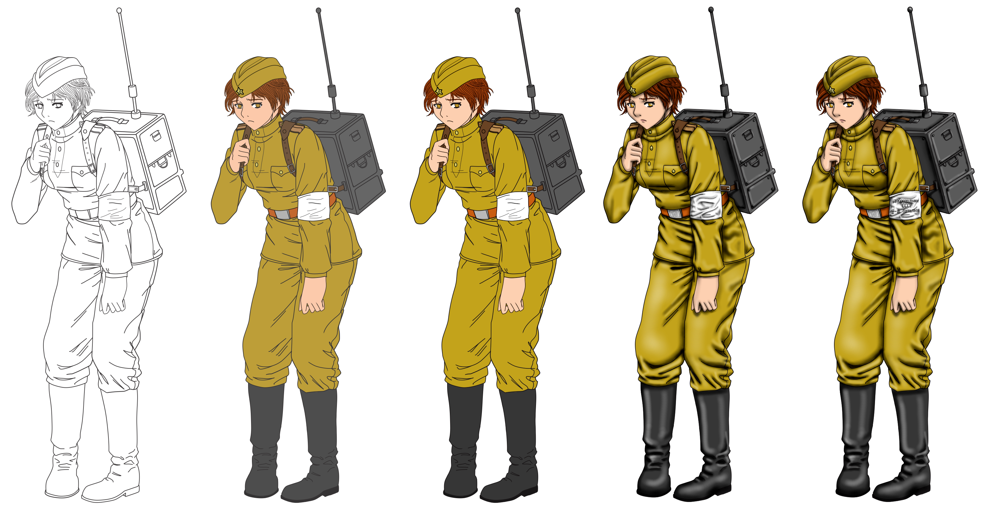 Russian radio girl pack. Military clipart soldier ww1