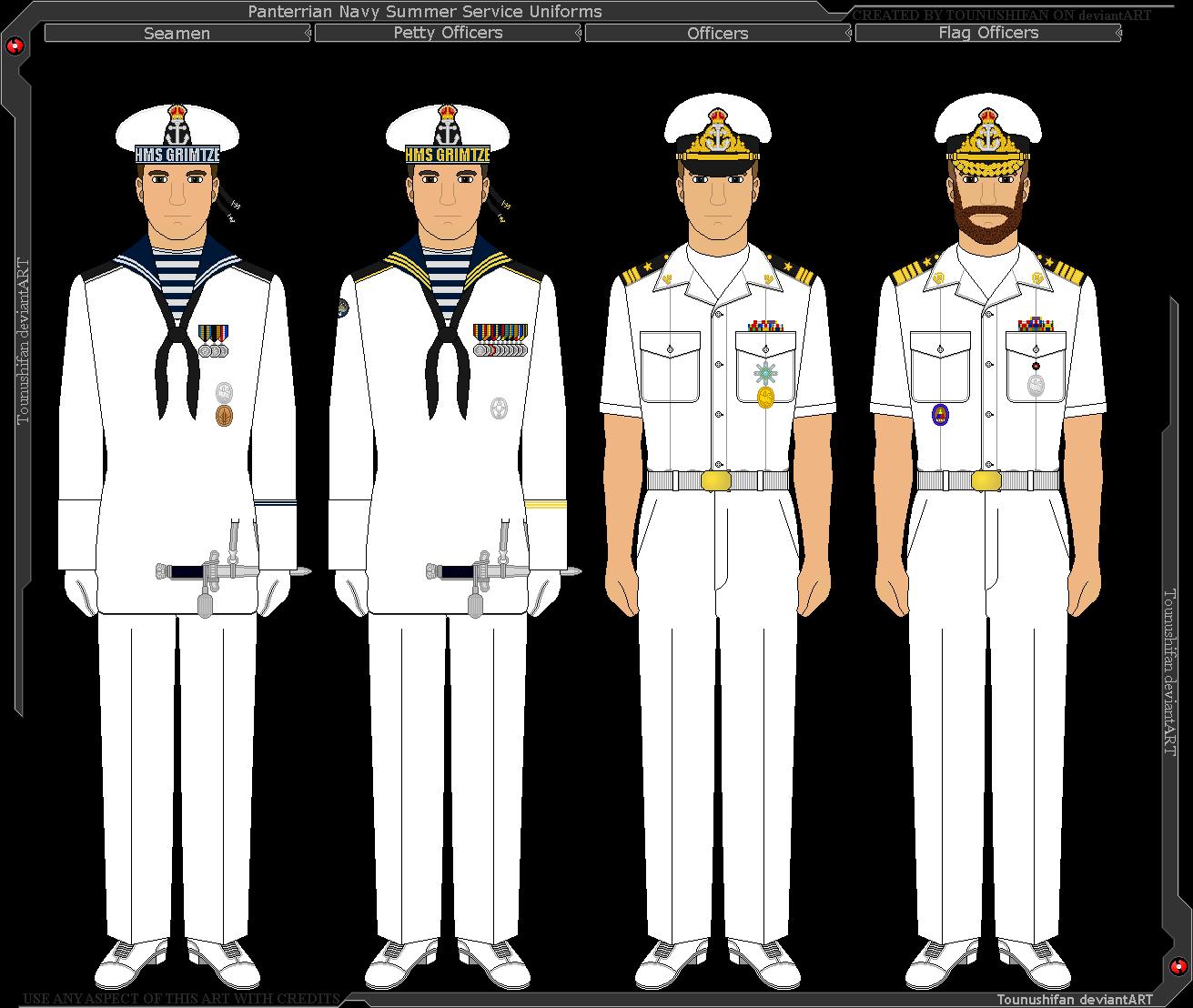 Panterria royal summer uniforms. Navy clipart seaman uniform