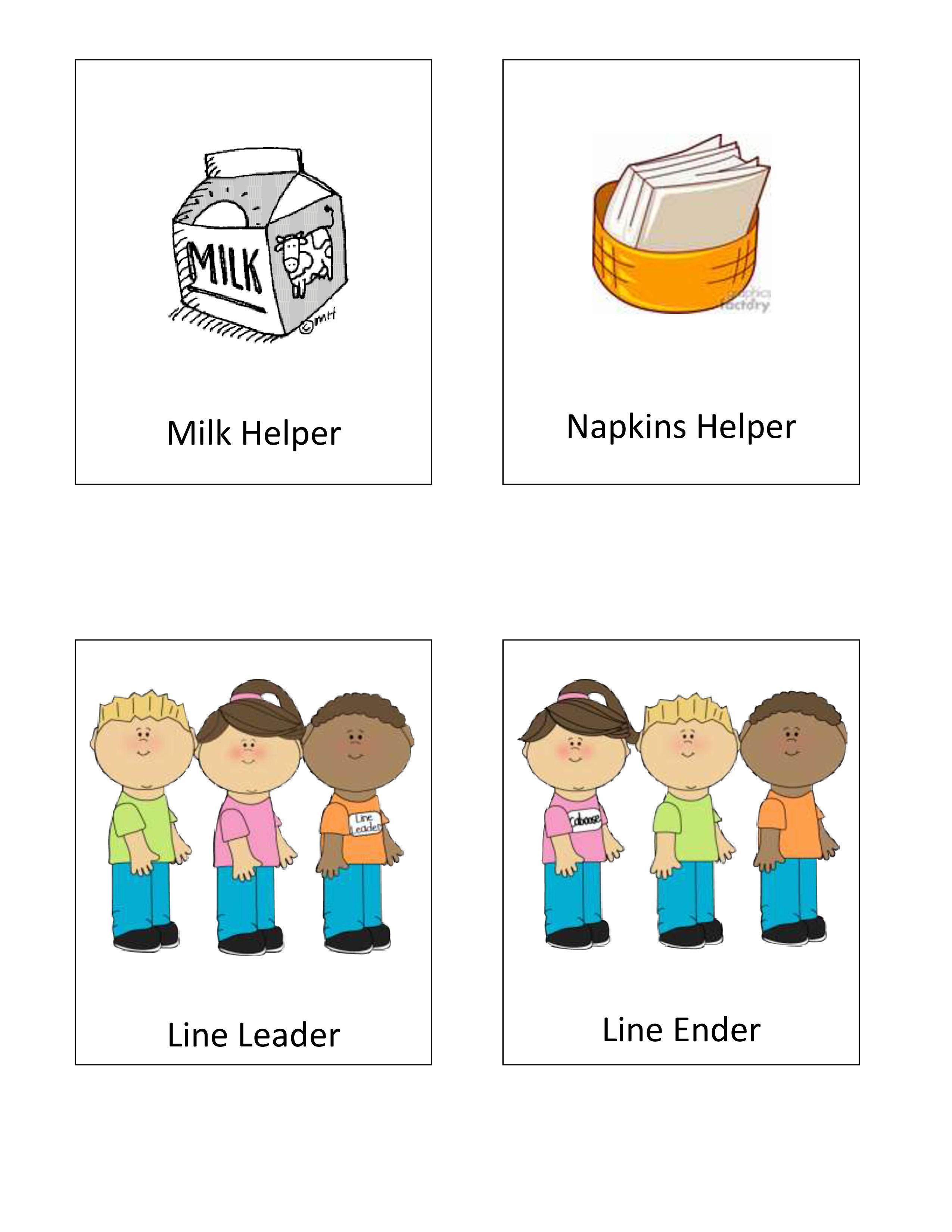 Napkin clipart helper. Classroom helpers preschool ideas