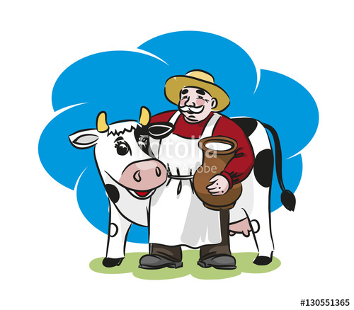 The and a cow. Milk clipart milkman
