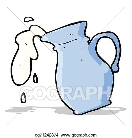 Vector art cartoon jug. Milk clipart pitcher