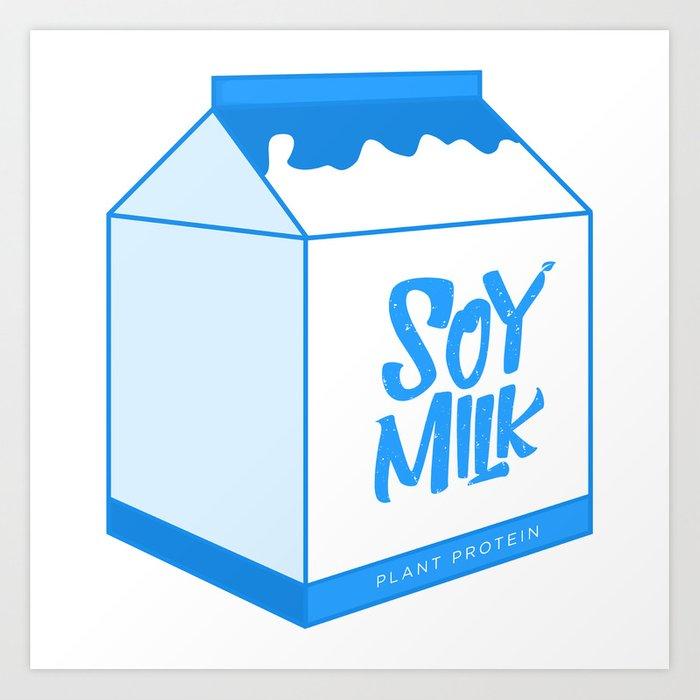 Art print by moontheprincess. Milk clipart soy milk