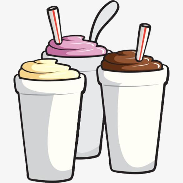 Milkshake clipart. Three cartoon vanilla strawberry