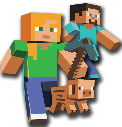 Three characters transparent png. Minecraft clipart