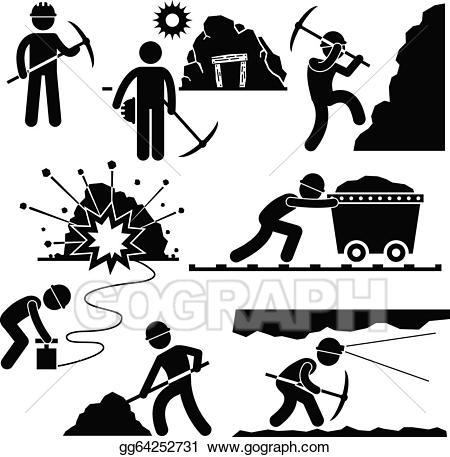 Mining clipart group worker. Vector illustration miner labor