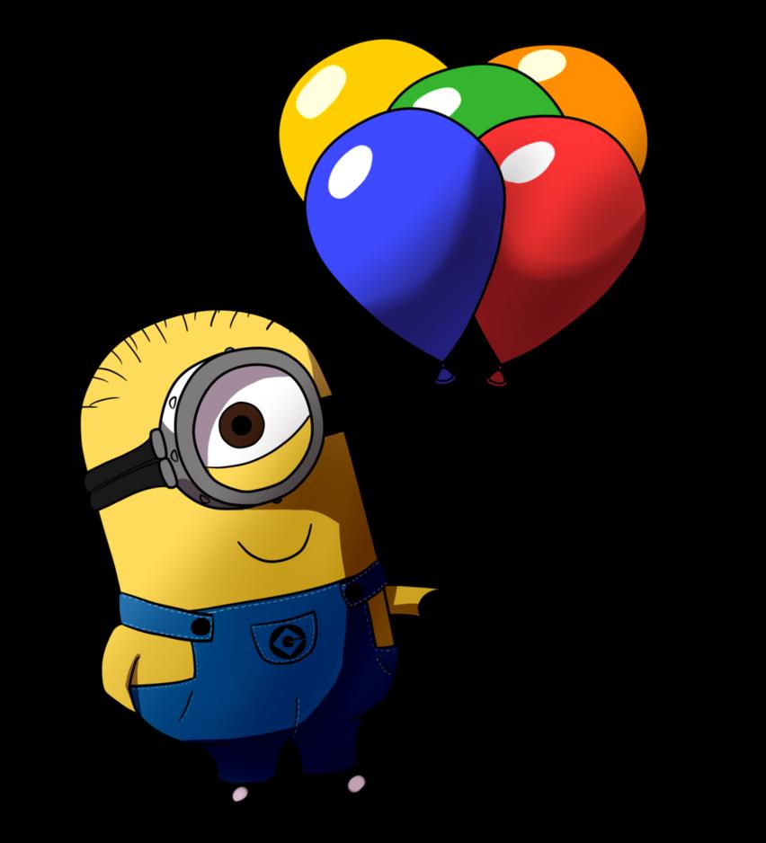 T shirt balloon birthday. Minions clipart bday