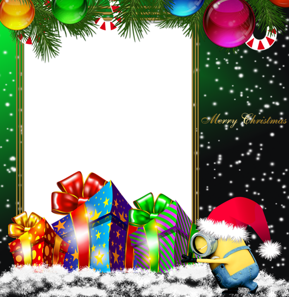 Merry christmas green png. Minion clipart frame
