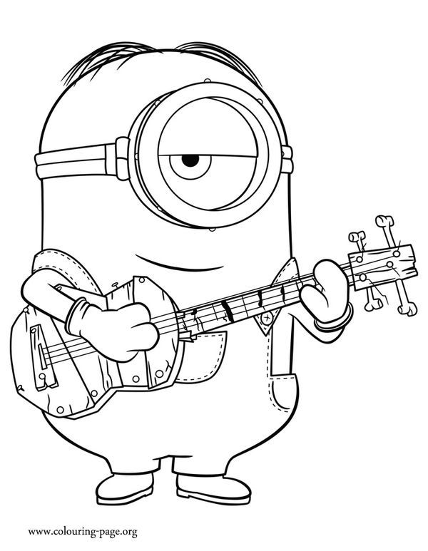 Minions clipart guitar drawing. Print and color this