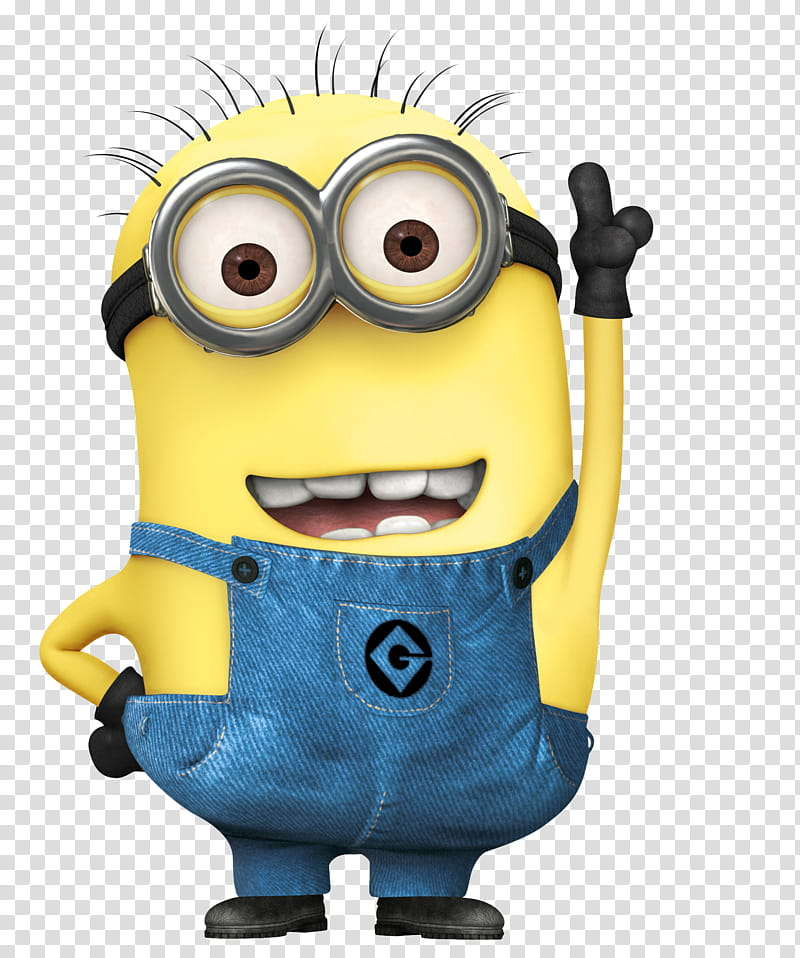 Minion character raising left. Minions clipart clear background