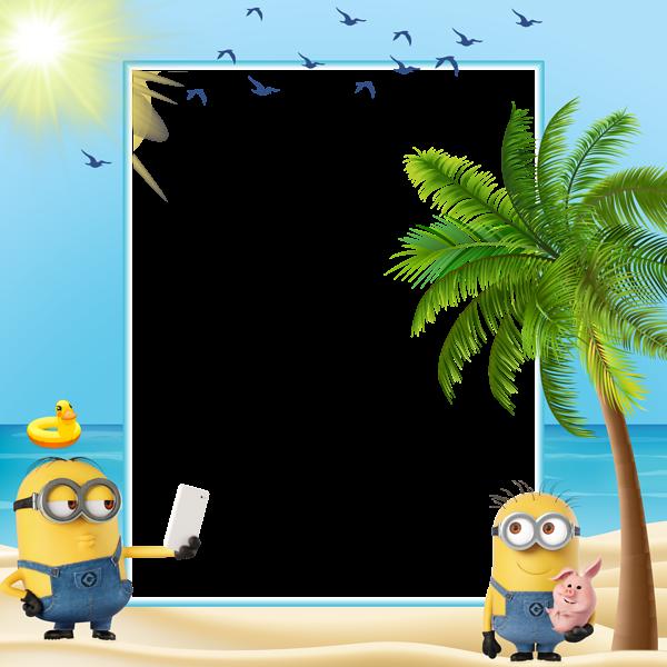 Summer kids transparent frame. Minions clipart larry