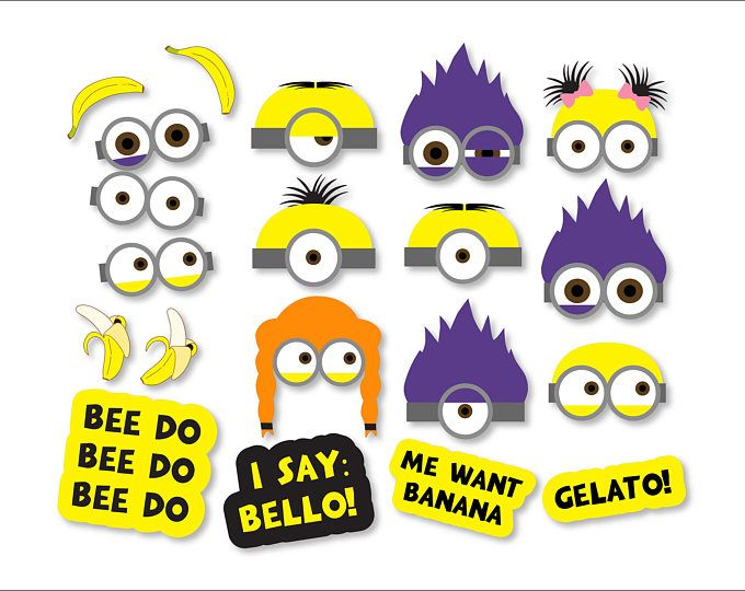 Minions clipart mask. Props printables photo booth
