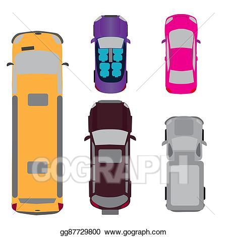 Minivan clipart above. Vector illustration a set