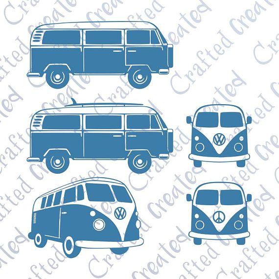 Camper van vector bundle. Minivan clipart above