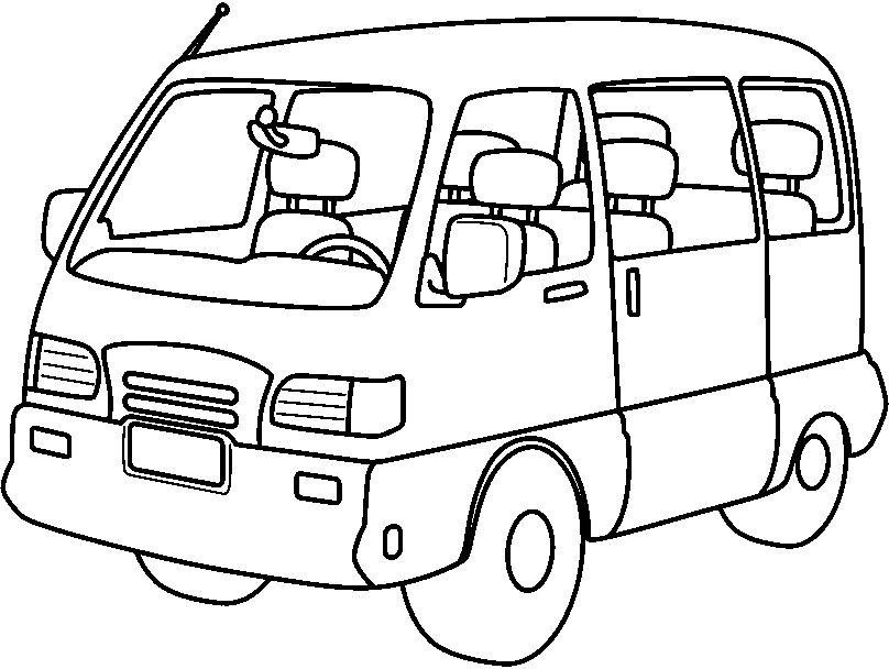 Minivan clipart black and white. Png free